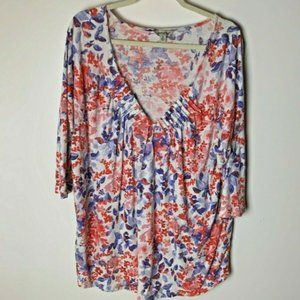 Lucky Brand Top Size 2X Floral 3/4 Sleeves V-Neck